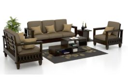 Italian Wooden Leatherette Sofa Set (Classic Grey) 3 2 1