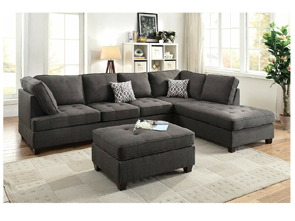 Urban Solid Wood Fabric L Shape Sofa Pack Charcoal Grey