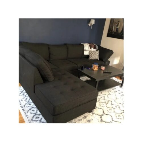 Urban Solid Wood Fabric L Shape Sofa Pack (Charcoal Grey Black) photo review