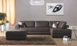 Urban Brown Leather 5 Seater Sofa Set