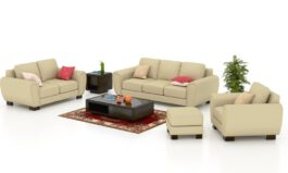 Urban Wood Leatherette 3+2+1 Sofa Set With Puffy, Cream Color