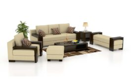 Urban Hardcore 3+2+1 Architectural Wood Leatherette Sofa Set (Standard,Lily White)