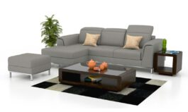 Urban L Shape Heavy Designed European Leatherette Sofa Set (Silver Grey)