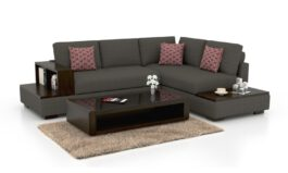 Urban L shape Solid Wood Fabric Sofa Set (Grey)