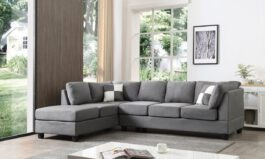 Urban Solid Wood Fabric L Shape Sofa Set (Grey)