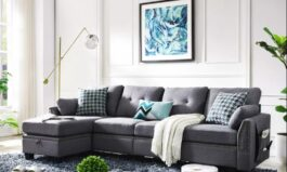 Urban Style 102″ Wide Reversible Sofa & Chaise with Ottoman by Urban Couch